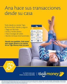 Transaccion financieras en TIGO MONEY facturas recibos pagos remesas recargas