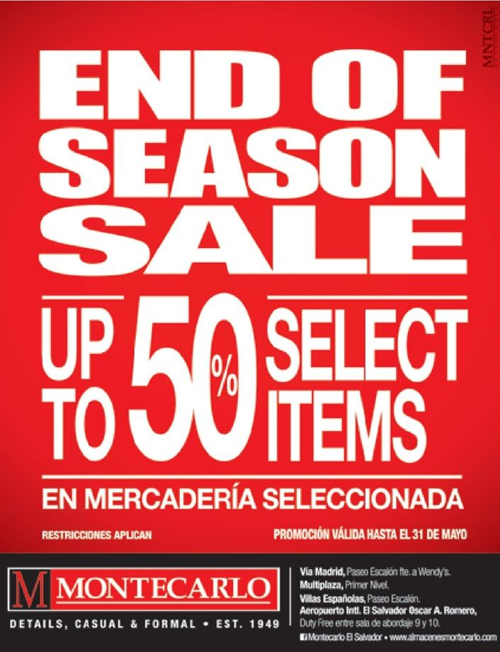 Up to 50 percent off MONTECARLO trajes para caballero - 24abr15
