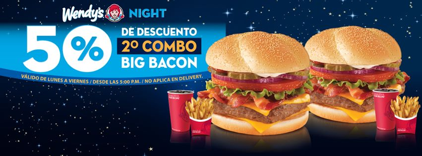 WENDYS night discount BURGER promotion BIG BACON