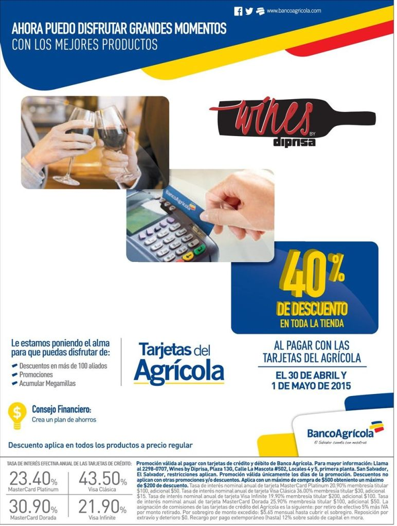 WINES selection discounts 40 OFF Banco Agricola credits card - 29abr15