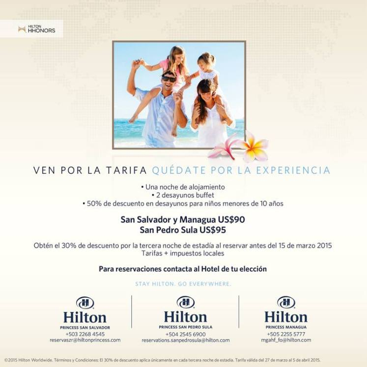 hotel HILTON princess resort tarifas de semana santa