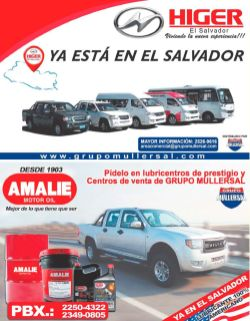 new brand carros el salvador HIGER motors by grupo MULLERSAL