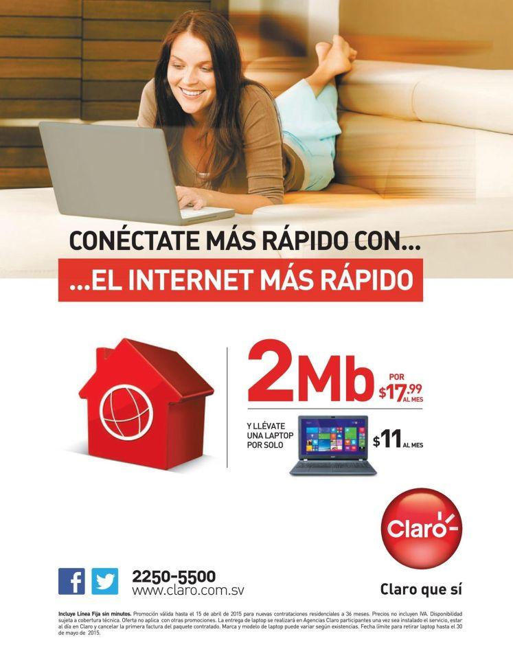 promocion Internet CLARO 2MB mas LAPTOP - 07abr15