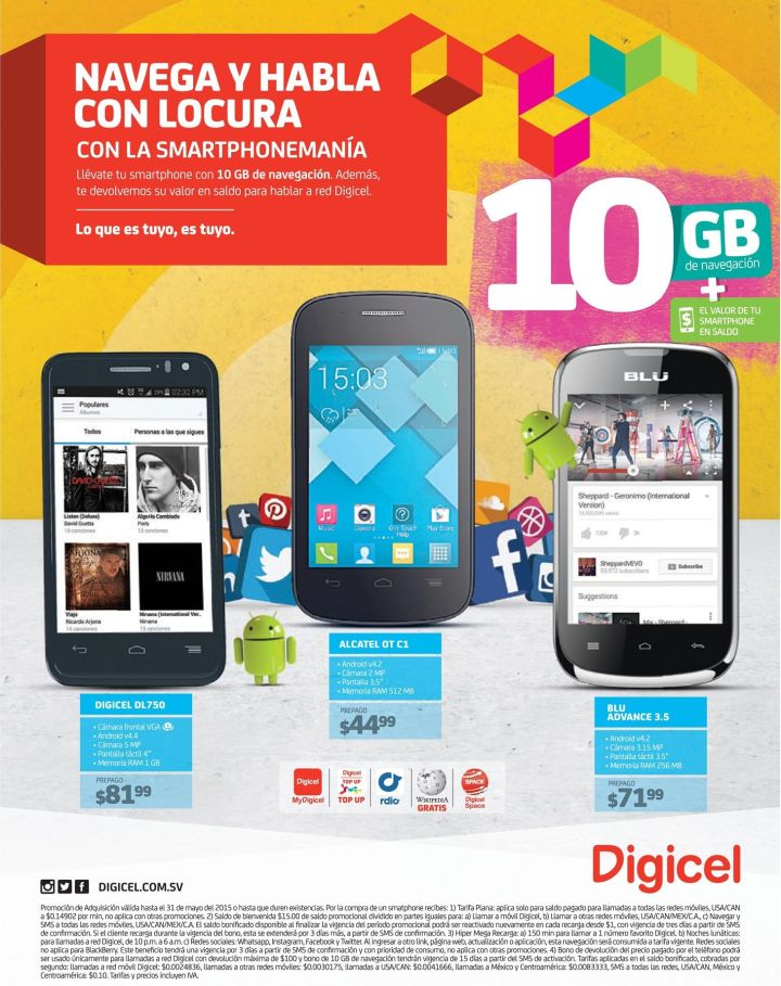 10 GB de navegacion SMARTphoneMANIA de DIGICEL elsalvador - 16may15