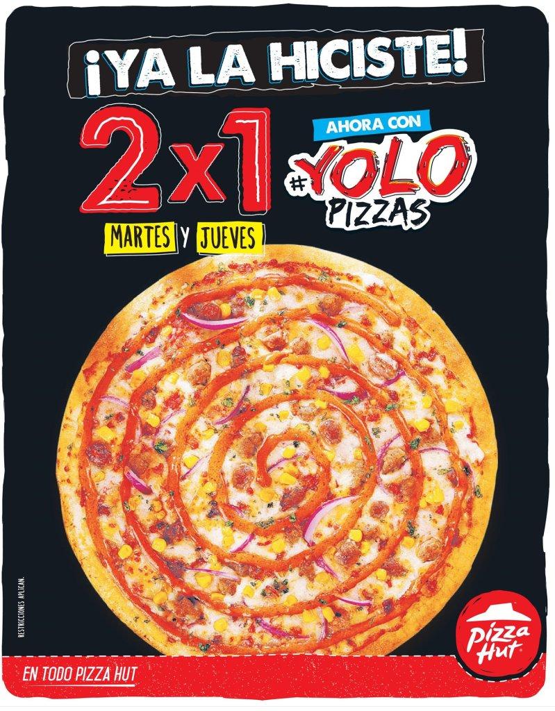 Ahora con YOLO PIZZAS promocion 2x1 martes y jueves