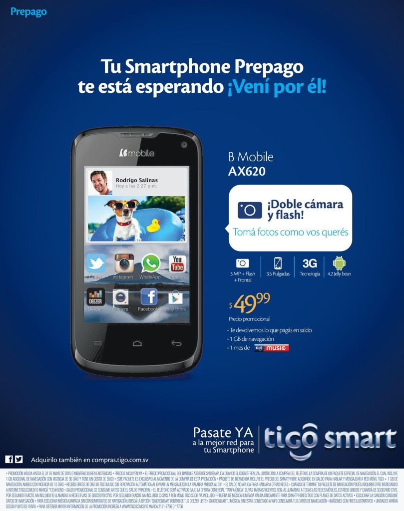 B Mobile AX620 con doble camara y flash por 49.99 dolares
