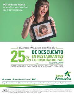 Banco promerica 25 OFF en restaurante y floristerias - 08may15