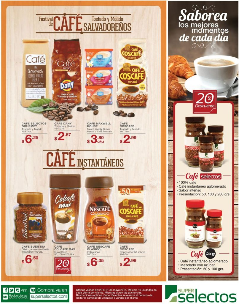 Descuento en productos de cafe en polvo e instantaneo - 29may15