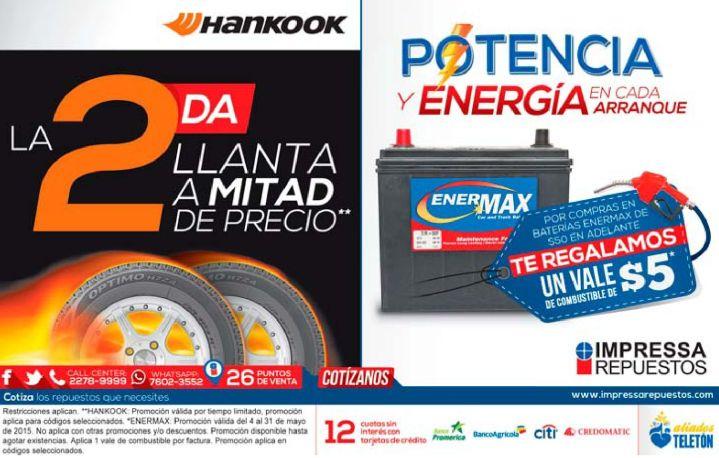 Llantas a mitad de precio y vale de combustible gracias IMPRESA repuestos - 04may15