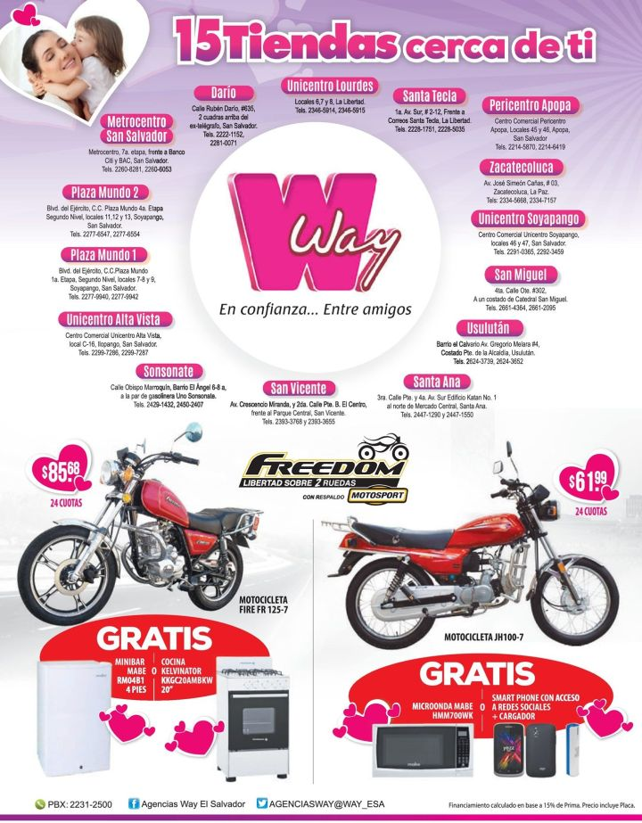 MOTOS freom con promociones WAY - 15may15