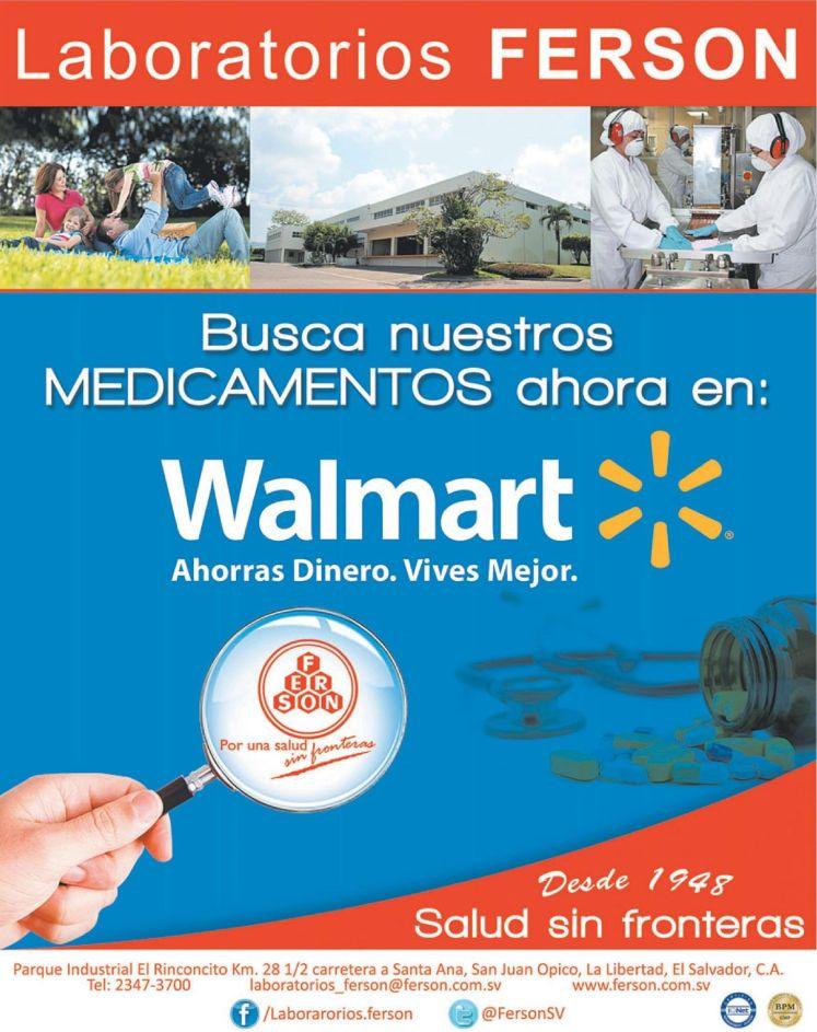 Medicamentos laboratorios FERSON disponibles en WALMART el salvador