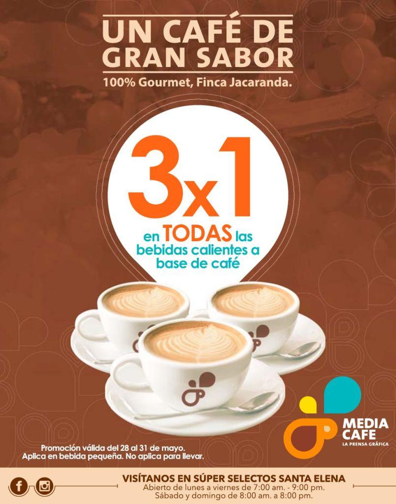 Promocion 3x1 en todas las bebidas calientes CAFE GOURMET mayo 2015