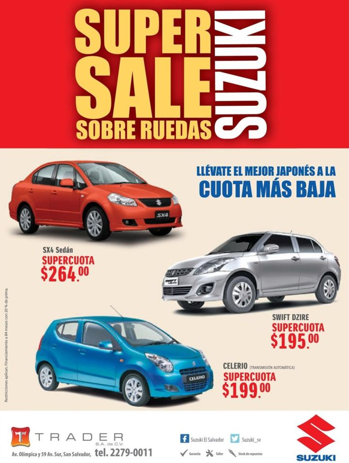 SUPER SALE suzuki sobre ruedas CELERIO SWIFT Sx4 sedan
