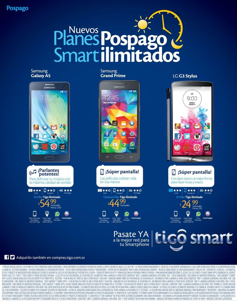 TIGO celulares SAMSUNG y LG a tu medida y atu gusto SMART
