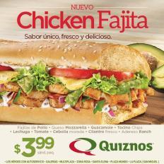 new CHIKEN fajita de quiznos por solo 3.99 de dolar