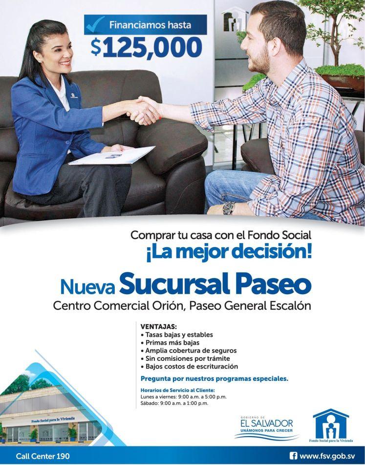 FONDO SOCIAL para la vivienda sucursal PASEO - telefono horario direccion