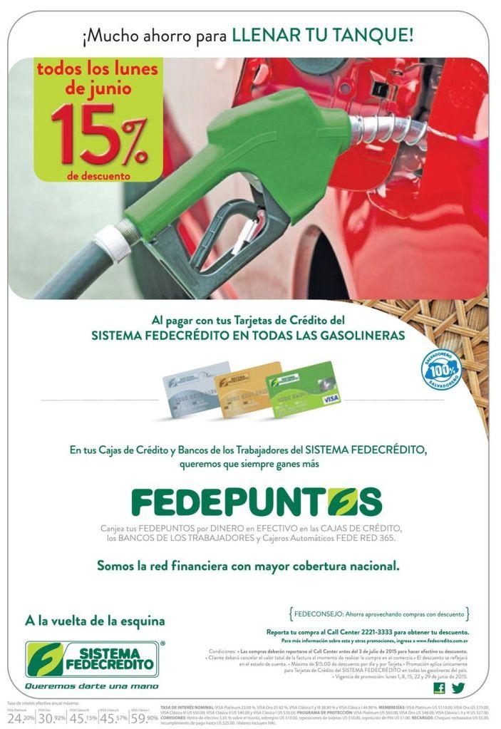 HOY 15 off al comprar gasolina con FEDECREDITO tarjetas