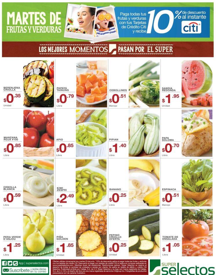 Martes de frutas y verduras SUPER SELECTOS ofertas - 23jun15