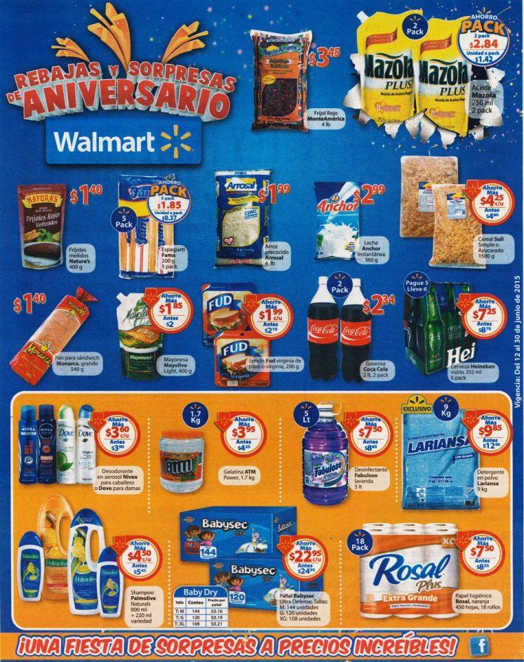 No lo olvides CONTINUAN las rebajas de aniversario en WALMART - 12jun15