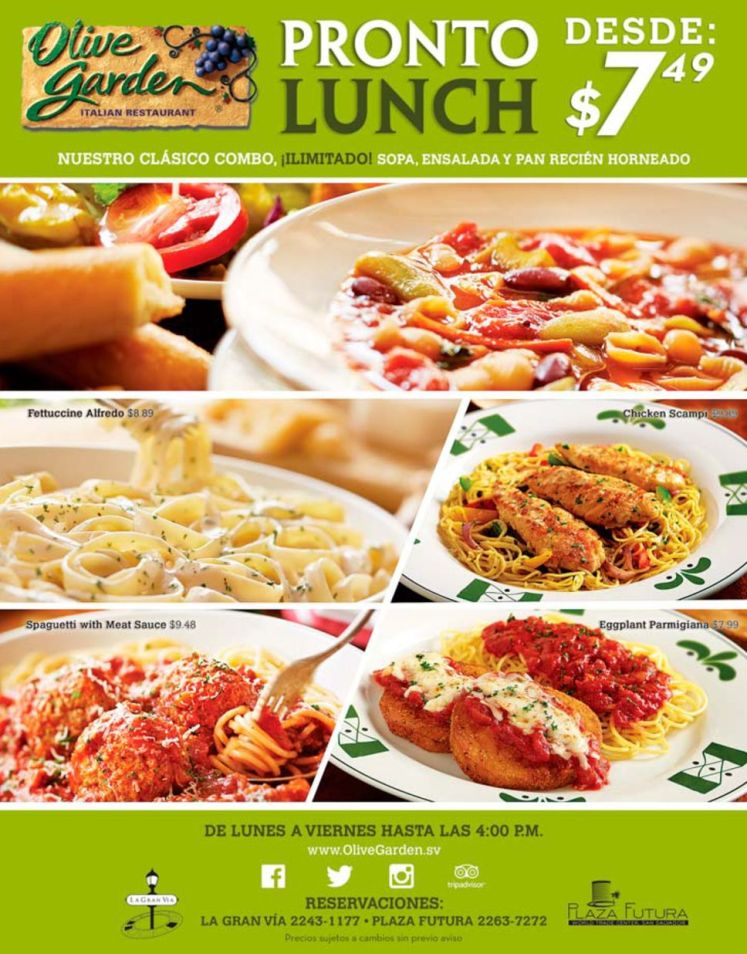 Olive garden ITALIAN restaurant PRONTO LUNCH - 16jun15
