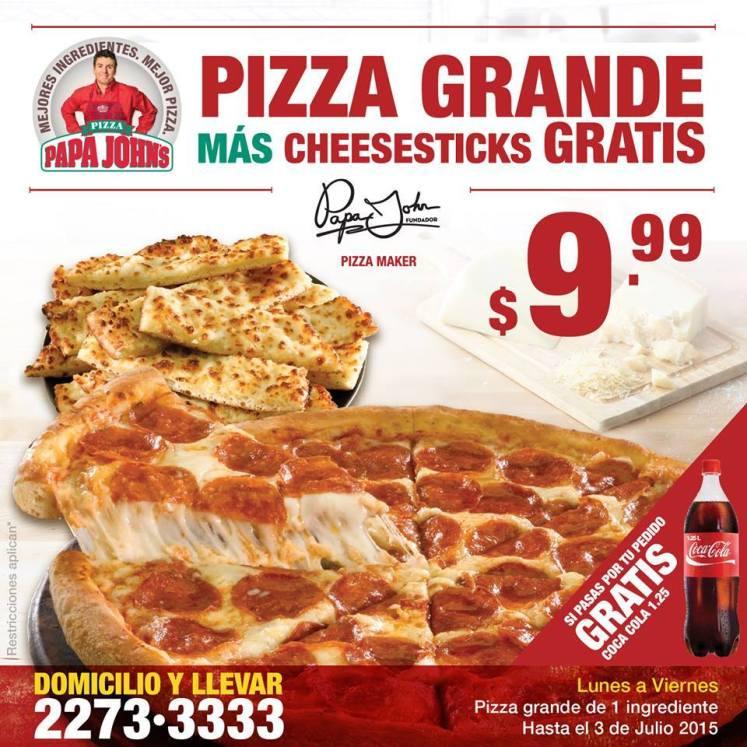 Pizza Grande mas cheesesticks GARTIS por 9.99 papa johns