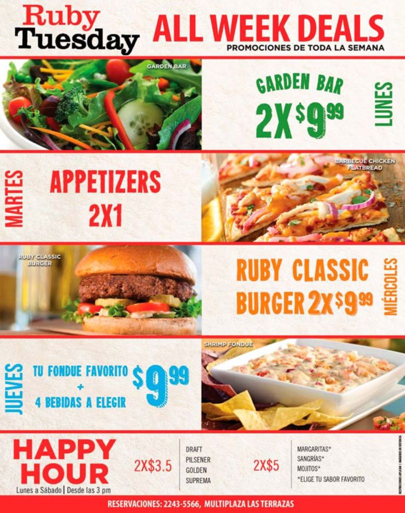 Restaurant RUBY TUESDAY promotions all week deals