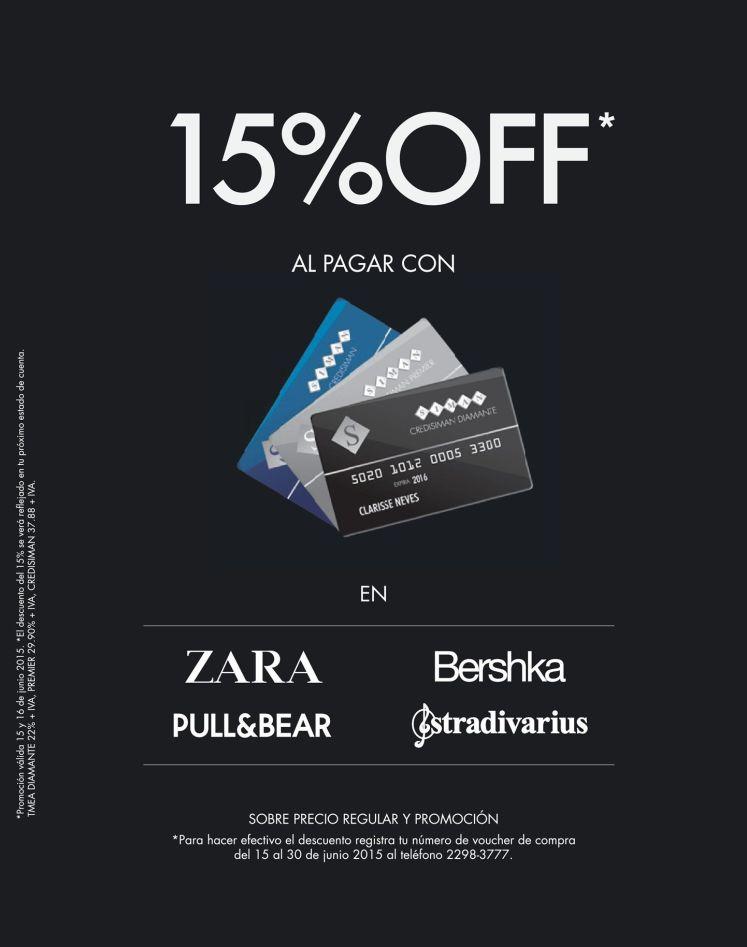ZARA BERSHKA 15 OFF sobre precioo regular y promocion