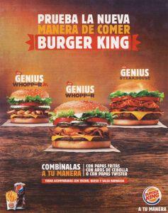 BURGER KING especialidades a tu gusto combinalas