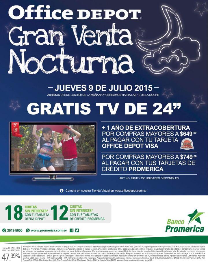 Office Depot big night sale GRATIS TV LED por tus compras - 09jul15