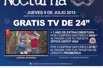 Office Depot big night sale GRATIS TV LED por tus compras - 09jul15