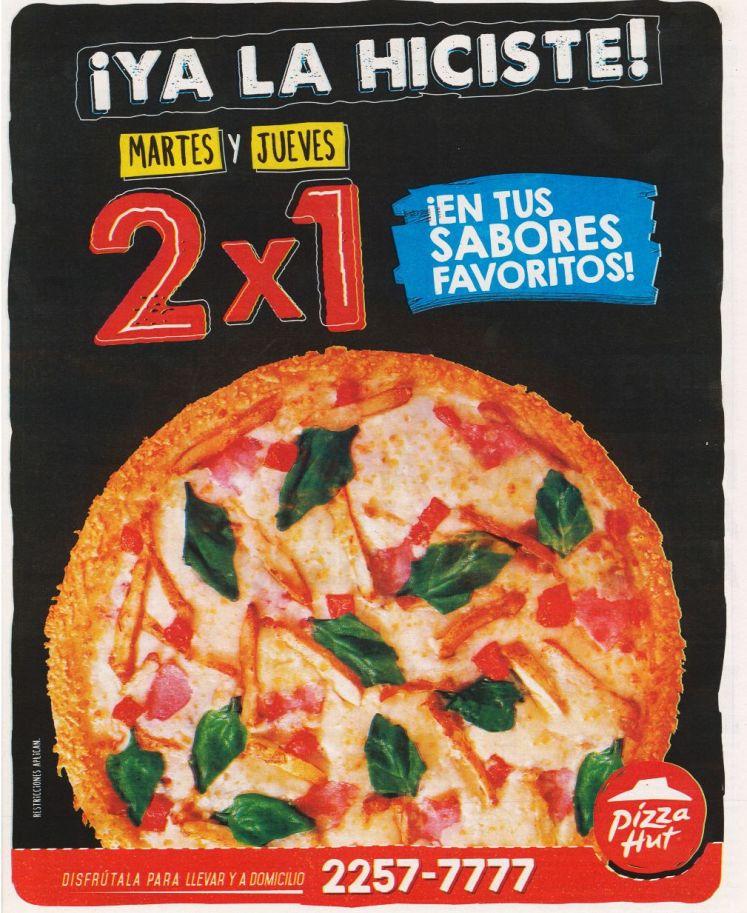 PIZZA HUT promociones 2x1 martes y jueves en tus sabores favoritos