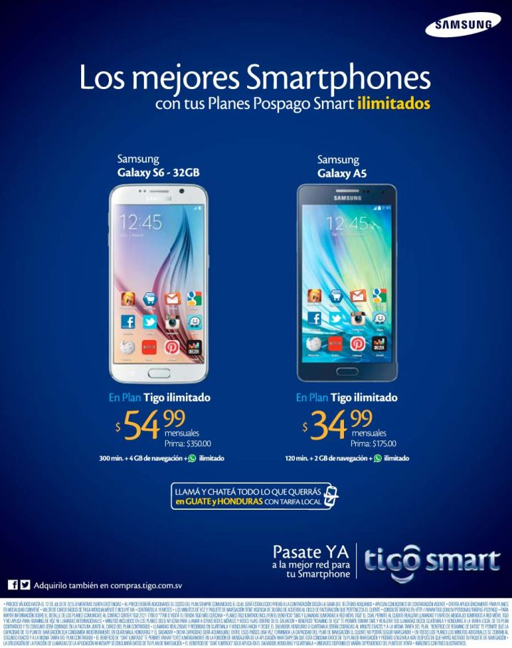 Promociones TIGO smart en moviles SAMSUNG - 10jul15