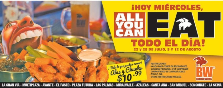 TODO el dia miercoloes ALL YOU CAN EAT gracias a Buffalo Wings - 22jul15
