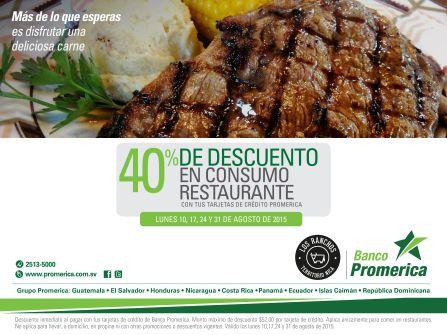 Banco promerica te da 40 OFF en restaurante los ranchos