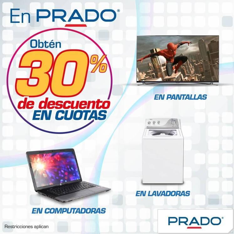 Descuento PRADO hasta 30 off en computadoras lavadores y pantallas