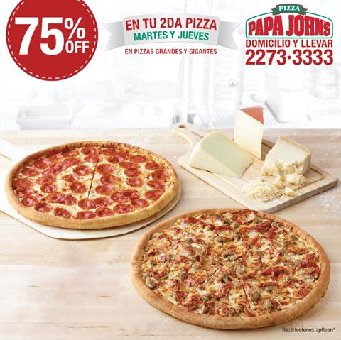 PAPA JONHS con 75 off en tu segunda pizza