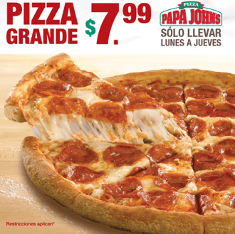 PAPA johns pizza para llevar en promocion