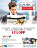 Suscribe newspaper 15 OFF con tarjetas CREDOMATIC