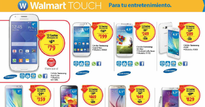 moviles smartphone celulares WALMART TOUCH deals