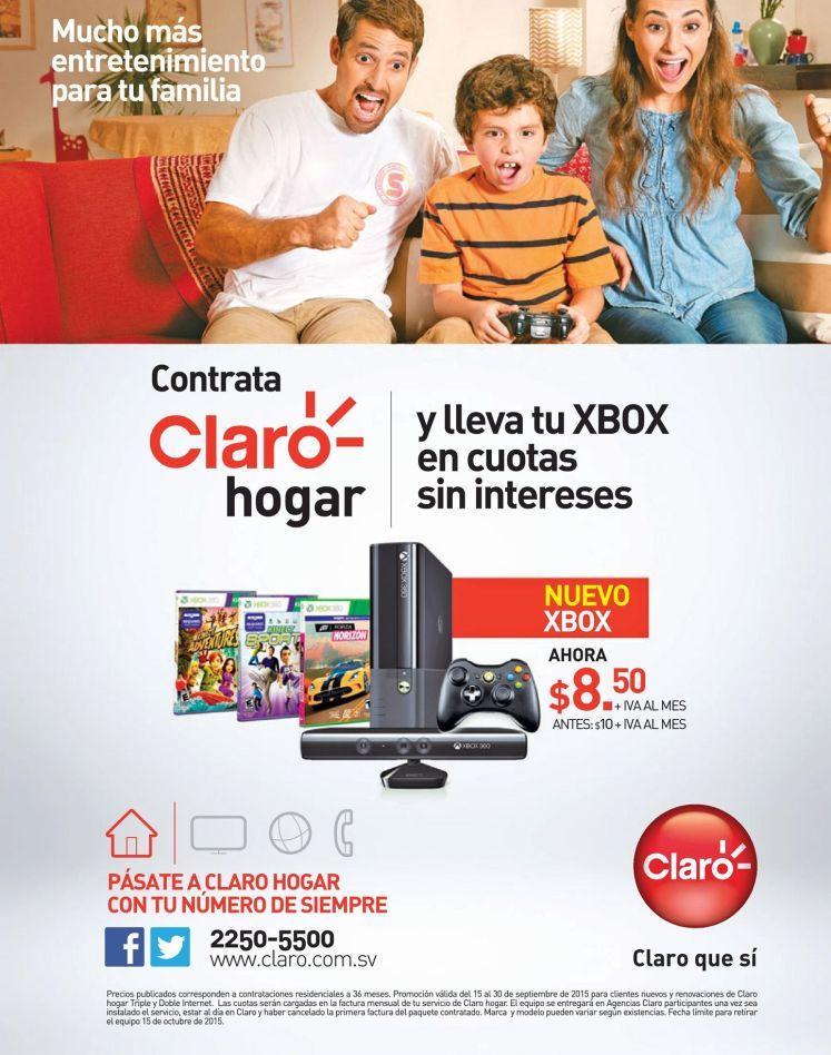 CLARO hogar te promociona tu XBOX en cuotas sin intereses
