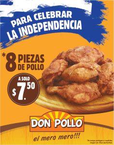 COMBO para celebrara la independencia con DON POLLO por solo 7.50 de dolar