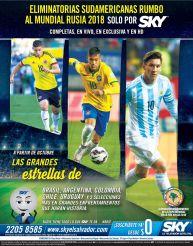 Eliminatorios sudamericanas rumbo al mudial RUSIA 2018 via television satelital