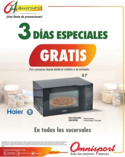 GRATIS horno microondas en tus compras OMNISPORT - 11sep15