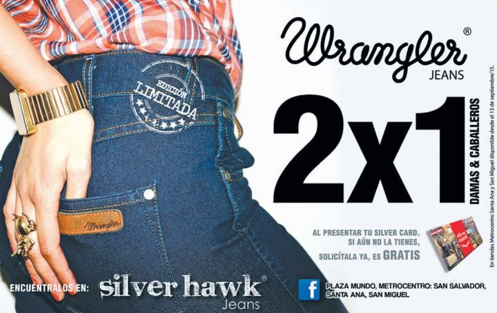 WRANGLER jeans 2x1 promotions ladies and gentlemans