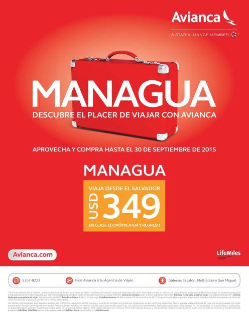 oferta boleto aereo MANAGUA Nicaragua via AVIANCA - 21sep15