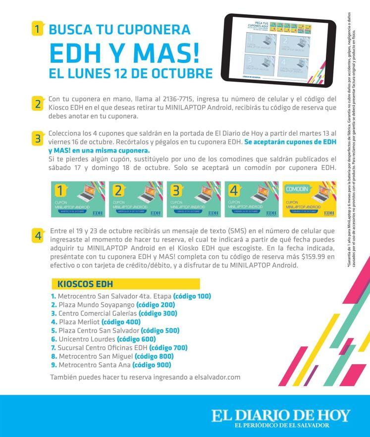 Busca tu cuponera EDH para adquirir tu mini laptop con ANDROID