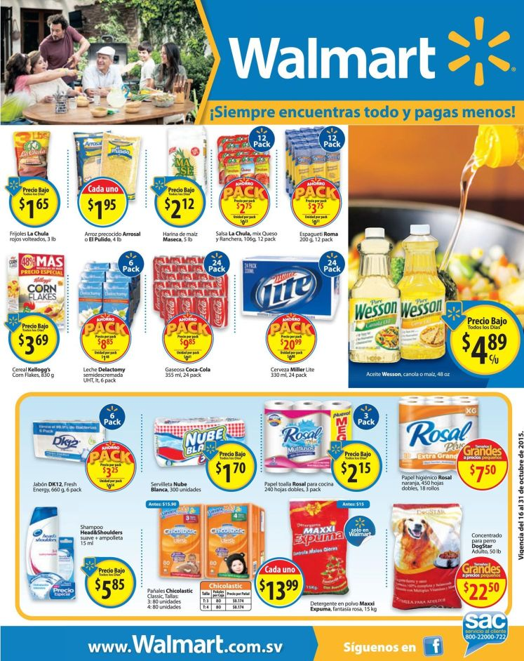 Pagas menos con WALMART y sus ofertas del dia - 16oct15
