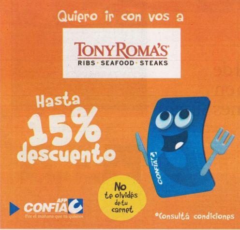Quiero ir con vos a TONY ROMAS hasta 15 off con tu carnet CONFIA