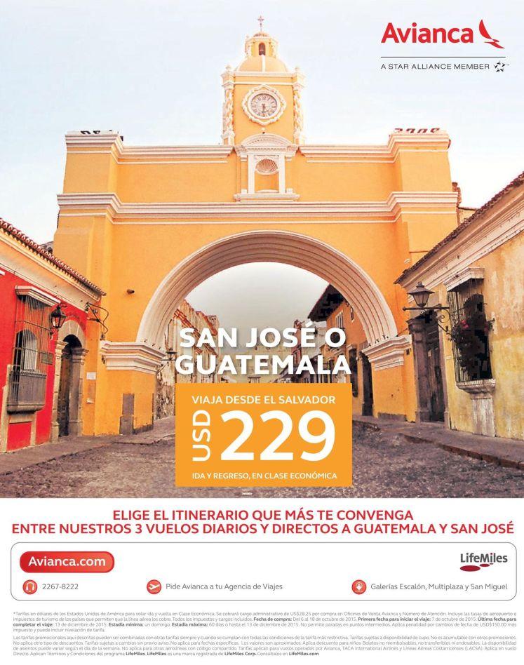 San Jose costa rica y GUATEMALA por solo 229 doalres via AVIANCA