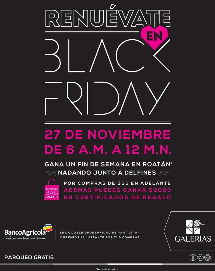 Promocion black friday de centro comercial galerias y banco agricola